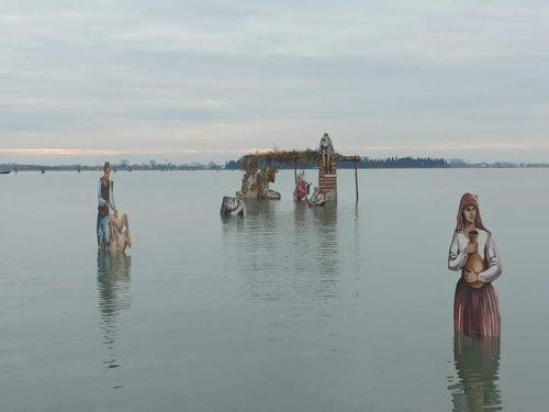 Crèche de Noël dans la lagune vénitienne